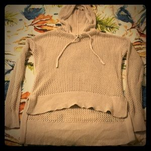 BDG. Beige fishnet hooded sweater!